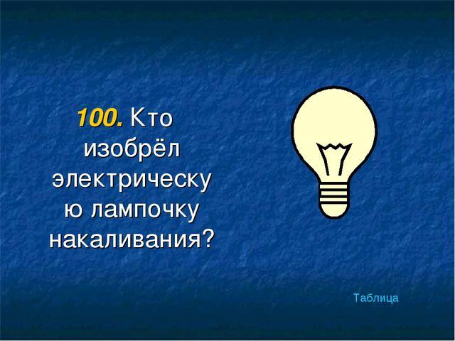 100. Кто изобрёл электрическую лампочку накаливания? Таблица
