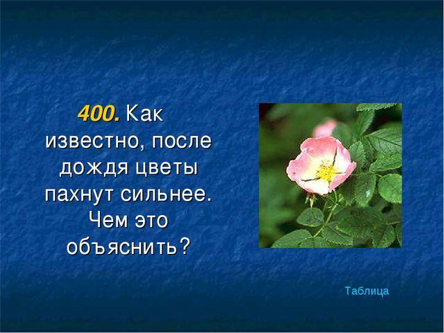 400. Как известно, после дождя цветы пахнут сильнее. Чем это объяснить? Таблица