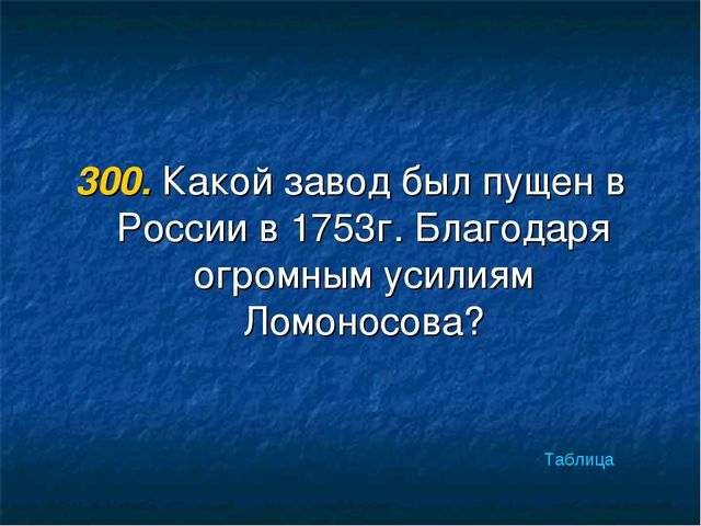 300. Какой завод был пущен в России в 1753г. Благодаря огромным усилиям Ломон...