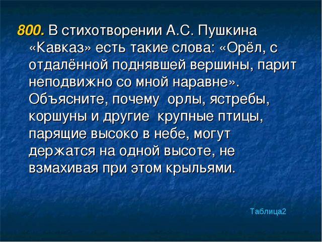 800. В стихотворении А.С. Пушкина «Кавказ» есть такие слова: «Орёл, с отдалён...