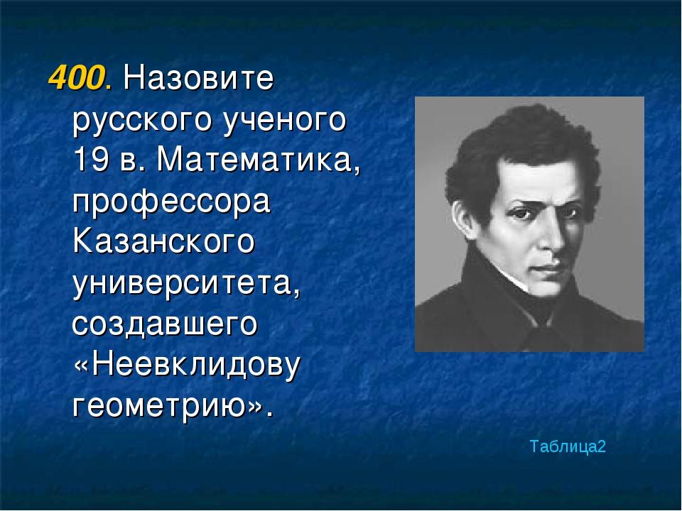 400. Назовите русского ученого 19 в. Математика, профессора Казанского универ...
