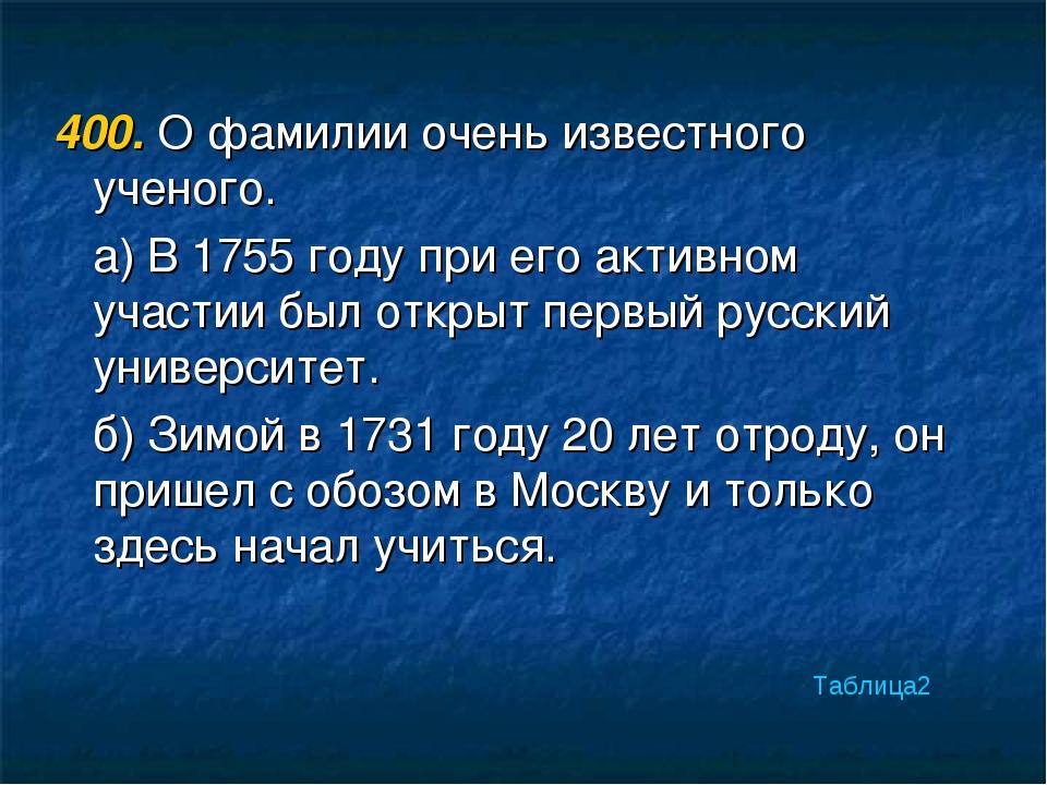 400. О фамилии очень известного ученого. а) В 1755 году при его активном учас...