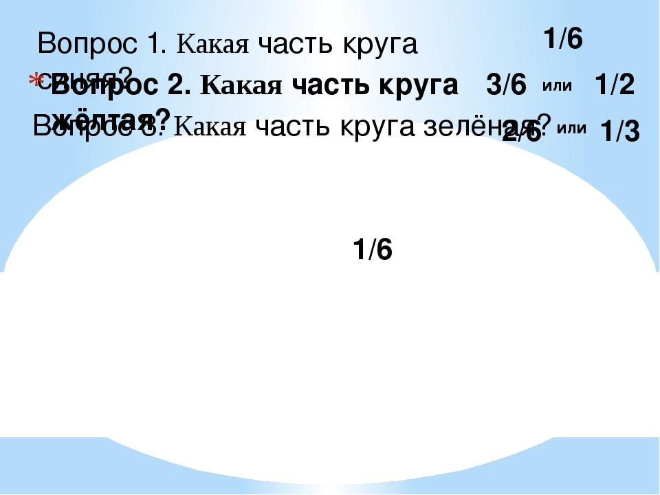 Вопрос 1. Какая часть круга синяя? Вопрос 2. Какая часть круга жёлтая? Вопрос...
