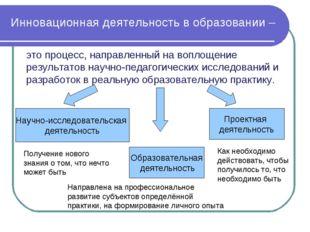 это процесс, направленный на воплощение результатов научно-педагогических исс
