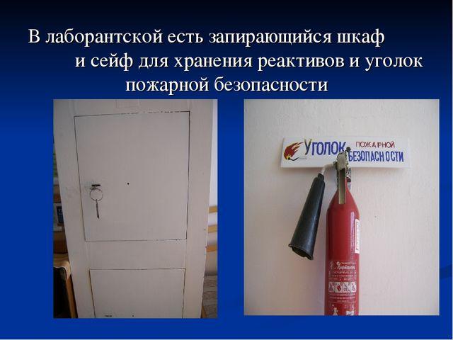 В лаборантской есть запирающийся шкаф и сейф для хранения реактивов и уголок...
