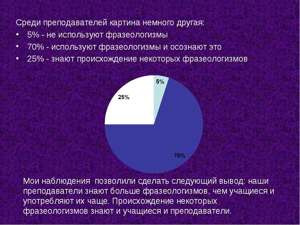 Среди преподавателей картина немного другая: 5% - не используют фразеологизмы...