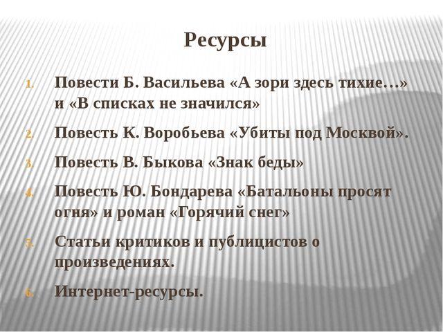 Ресурсы Повести Б. Васильева «А зори здесь тихие…» и «В списках не значился»...