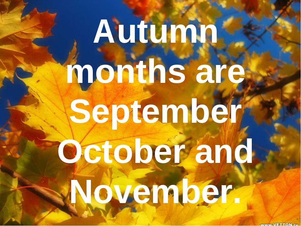 Autumn months are September October and November.