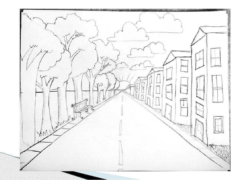 Рисунок улица уходит в даль