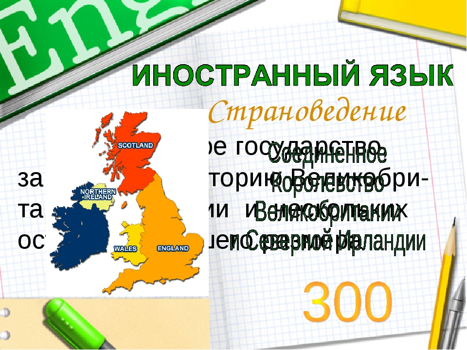 Страноведение Островное государство, занимает территорию Великобри-тании, Ирл...