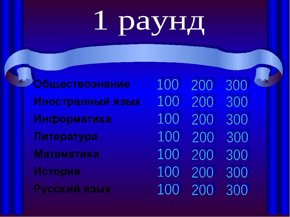 Обществознание Иностранный язык Информатика Литература Математика...