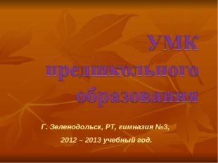 Г. Зеленодольск, РТ, гимназия №3, 2012 – 2013 учебный год.