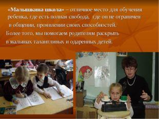 «Малышкина школа» – отличное место для обучения ребенка, где есть полная сво