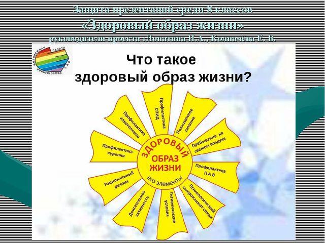 Защита презентаций среди 8 классов «Здоровый образ жизни» руководители проект...