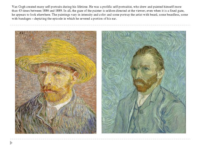Van Gogh created many self-portraits during his lifetime. He was a prolific s...