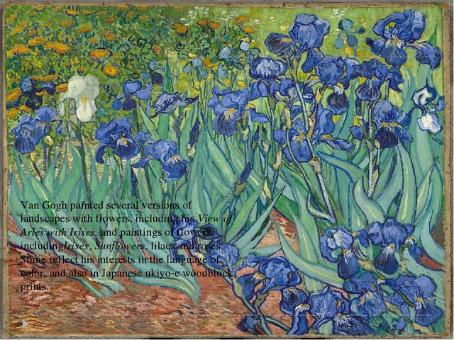 Van Gogh painted several versions of landscapes with flowers, including his V...
