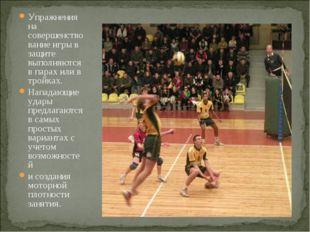 Упражнения на совершенствование игры в защите выполняются в парах или в тройк