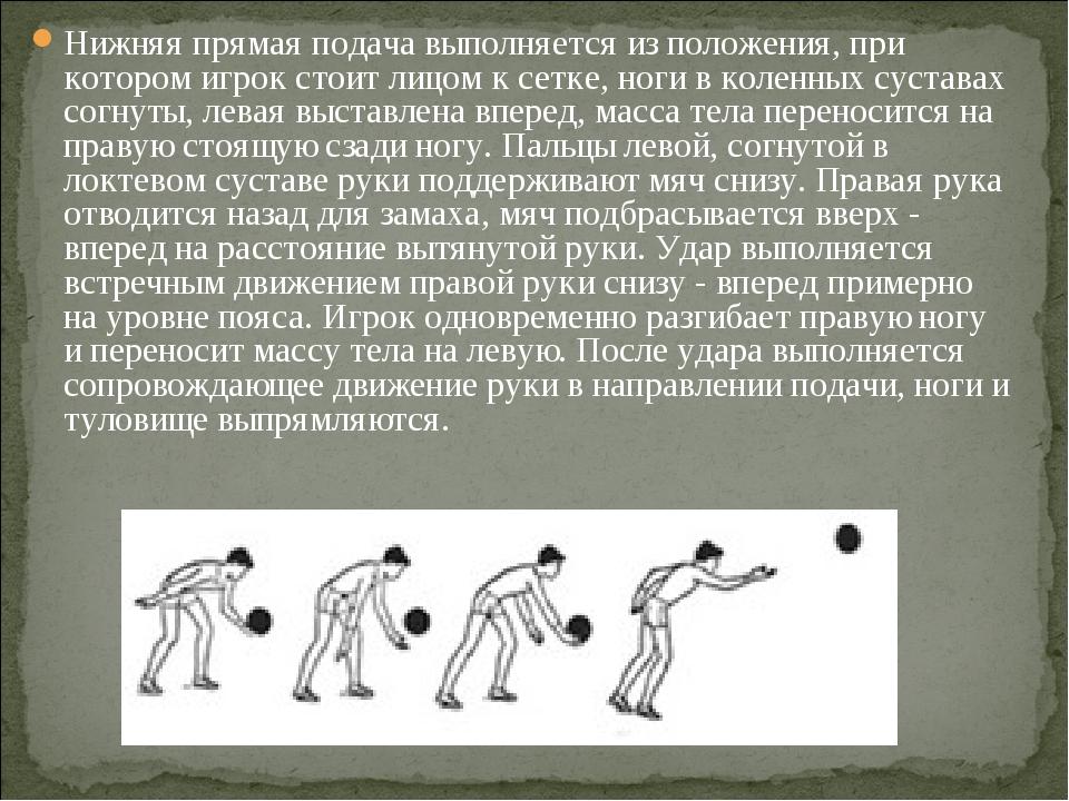 Нижняя прямая подача выполняется из положения, при котором игрок стоит лицом...