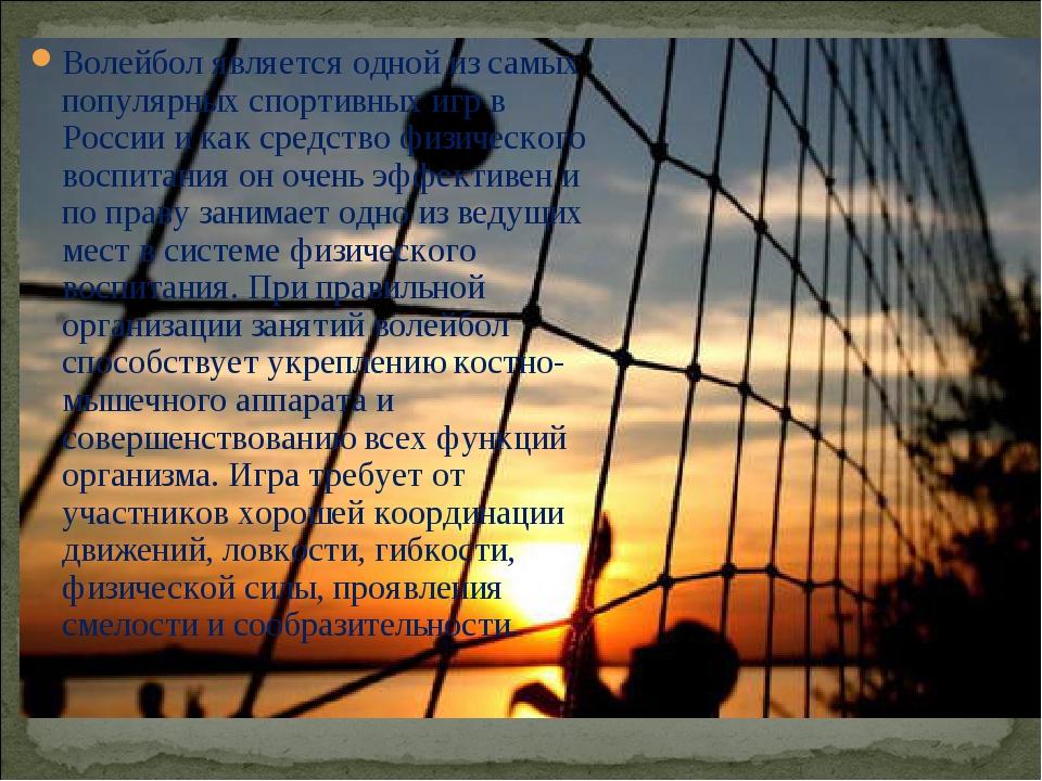 Волейбол является одной из самых популярных спортивных игр в России и как сре...