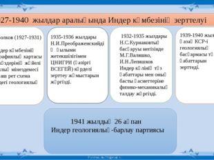 А.Н.Волков (1927-1931) 1). Индер күмбезінің топографиялық картасы 2).су көзд