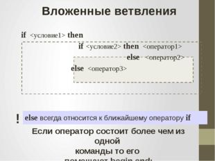 Вложенные ветвления if  then if  then  else  else  else всегда относится к б