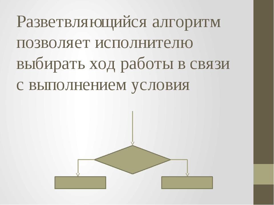 Разветвляющийся алгоритм позволяет исполнителю выбирать ход работы в связи с...