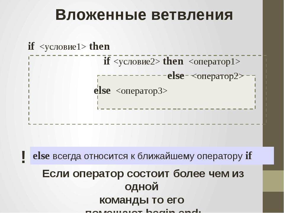 Вложенные ветвления if  then if  then  else  else  else всегда относится к б...