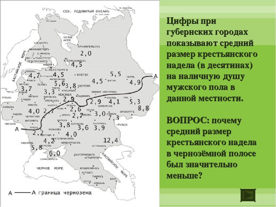 Цифры при губернских городах показывают средний размер крестьянского надела (...