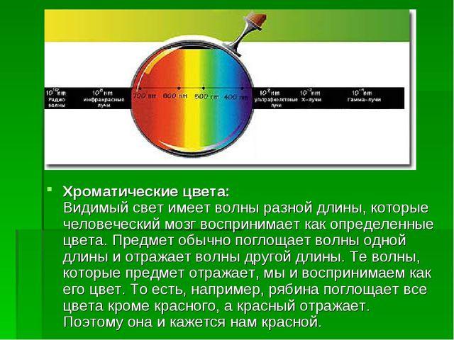 Хроматические цвета: Видимый свет имеет волны разной длины, которые человечес...