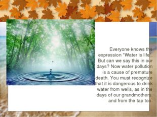 """Everyone knows the expression """"Water is life"""". But can we say this in our day"""
