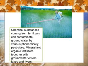 Chemical substances coming from fertilizers can contaminate ground water by v