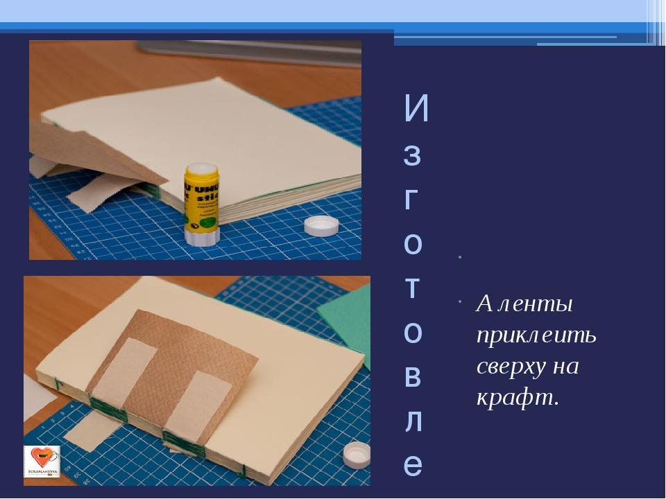 Изготовление блока  А ленты приклеить сверху на крафт.