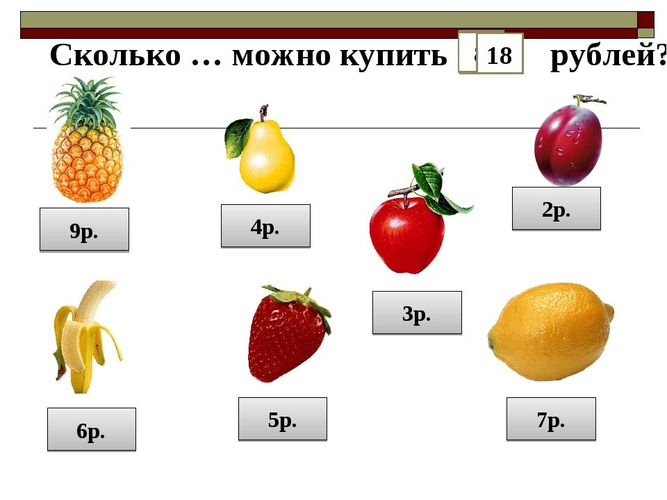 9р. 2р. 5р. 6р. 4р. 7р. 3р. Сколько … можно купить на рублей? 18 12 15 21 14...