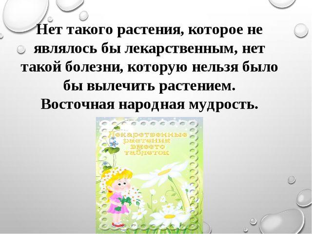 Нет такого растения, которое не являлось бы лекарственным, нет такой болезни,...