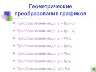 Геометрические преобразования графиков Преобразование вида y = f(x)+ b Преобр
