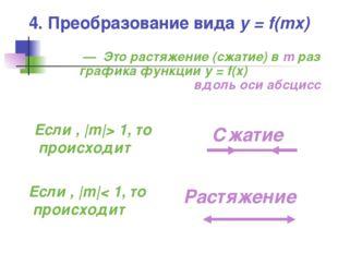 4. Преобразование вида y = f(mx) — Это растяжение (сжатие) в m раз графика фу