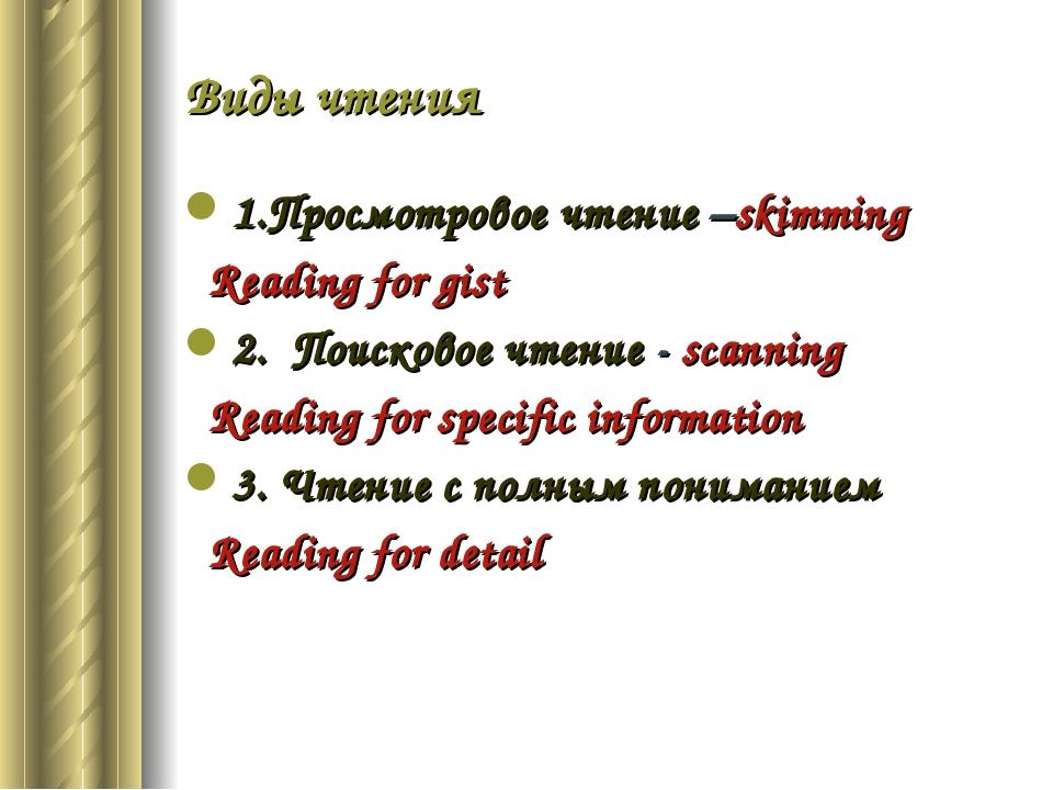 Виды чтения 1.Просмотровое чтение –skimming Reading for gist 2. Поисковое чте...