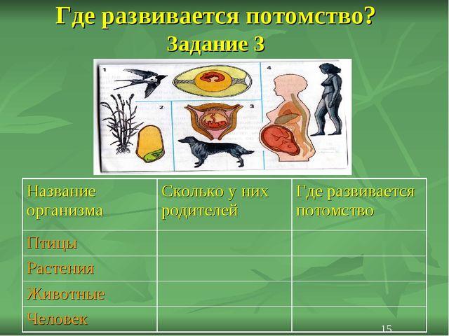 Где развивается потомство? Задание 3 15 Название организмаСколько у них роди...