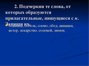 2. Подчеркни те слова, от которых образуются прилагательные, пишущиеся с н.