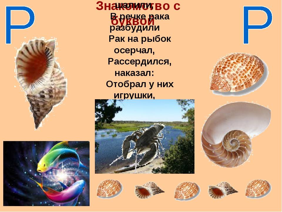 Знакомство с буквой Рыбки резвые шалили, В речке рака разбудили Рак на рыбок...