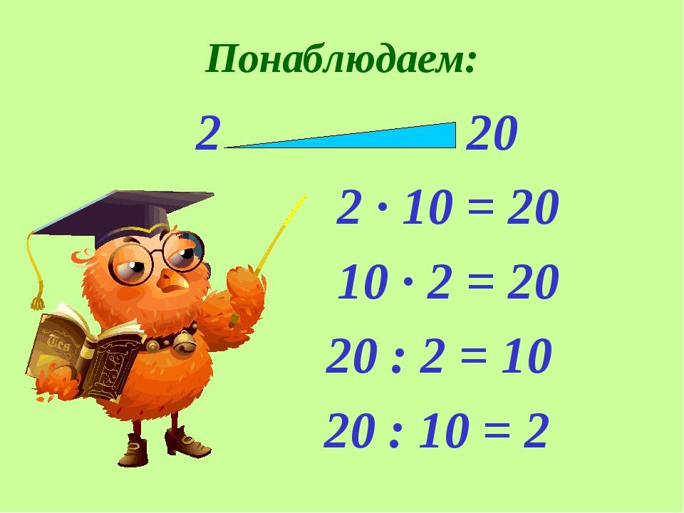 Понаблюдаем: 2 20 2 · 10 = 20 10 · 2 = 20 20 : 2 = 10 20 : 10 = 2