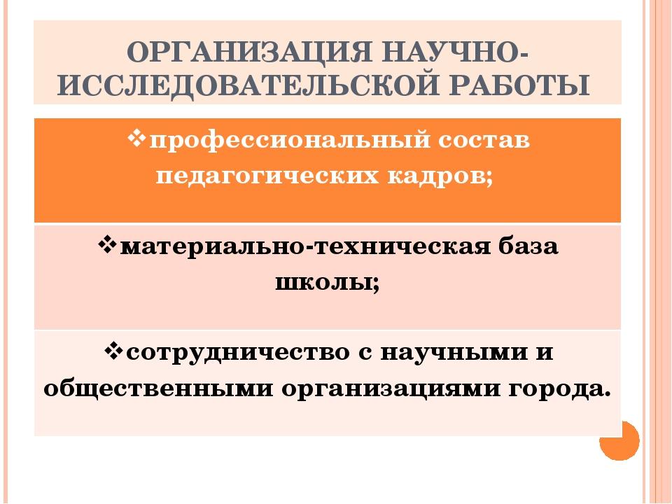 ОРГАНИЗАЦИЯ НАУЧНО-ИССЛЕДОВАТЕЛЬСКОЙ РАБОТЫ профессиональный состав педагогич...