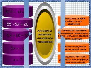 5(11 – х) = 20 х = 7 - 5х = - 35 -5х = 20 – 55 4. Разделить обе части уравнен