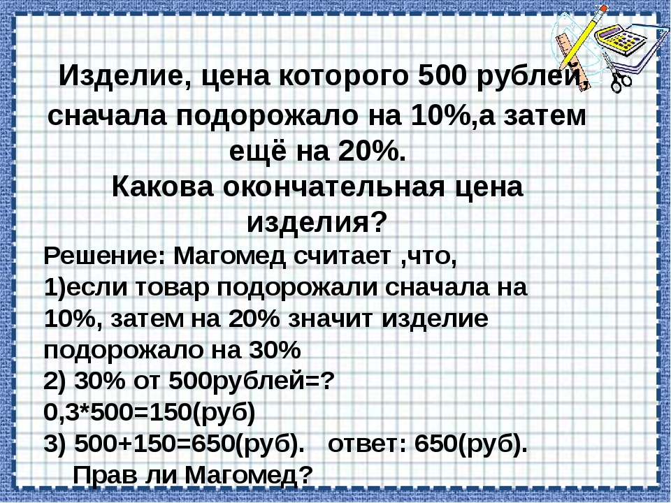 Изделие, цена которого 500 рублей, сначала подорожало на 10%,а затем ещё на...