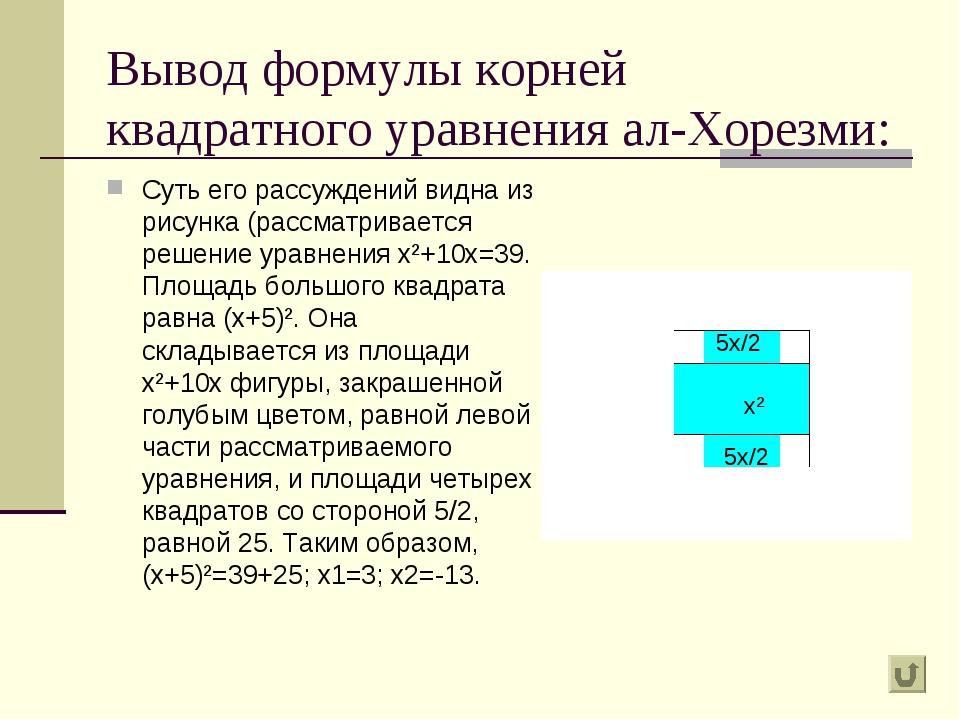 Вывод формулы корней квадратного уравнения ал-Хорезми: Суть его рассуждений в...