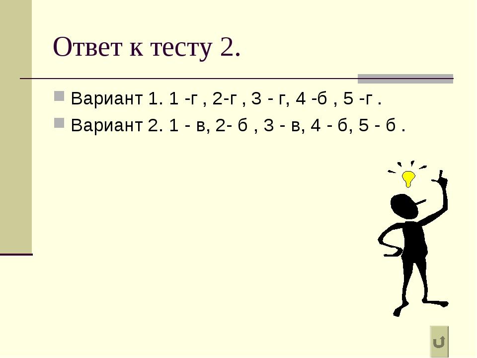 Ответ к тесту 2. Вариант 1. 1 -г , 2-г , 3 - г, 4 -б , 5 -г . Вариант 2. 1 -...