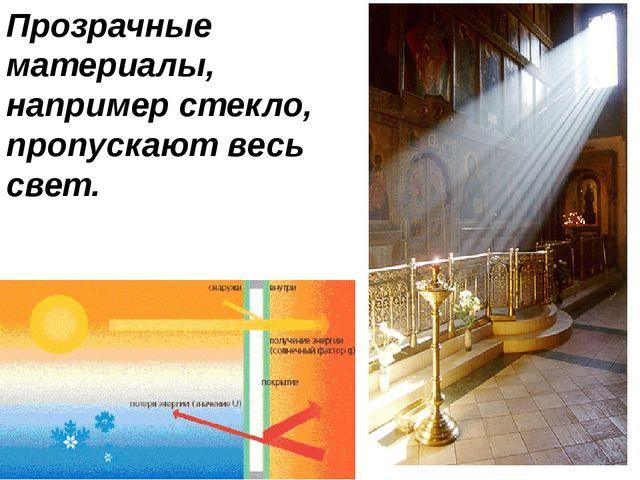 Прозрачные материалы, например стекло, пропускают весь свет.