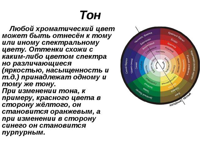 Тон Любой хроматический цвет может быть отнесён к тому или иному спектральном...