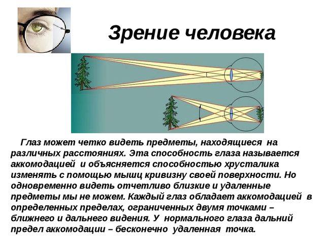 Зрение человека Глаз может четко видеть предметы, находящиеся на различных р...