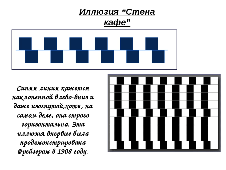 """Иллюзия """"Стена кафе"""" Синяя линия кажется наклоненной влево-вниз и даже изогну..."""